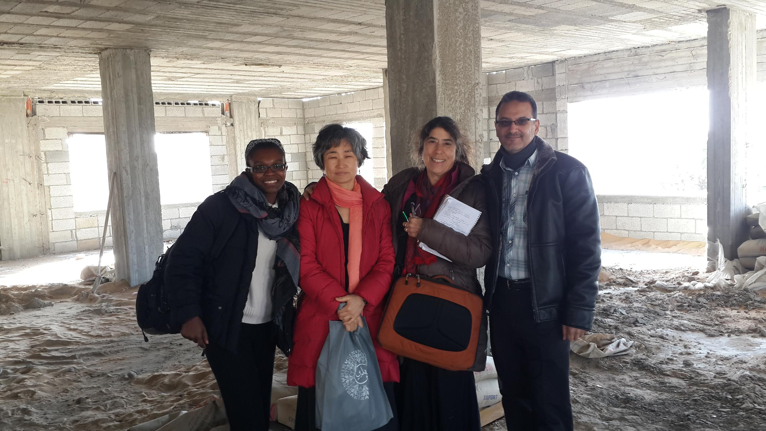 (L-R) Mina Remy, Chung-Wha Hong, GMCF Board member Alice Rothschild and Dr. Abu Jamei in Gaza in 2017