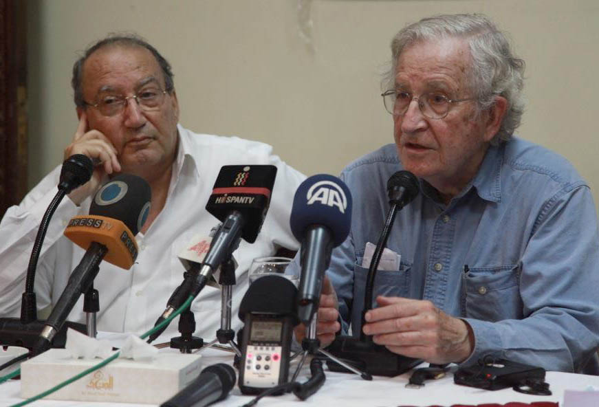Dr. el Sarraj with Noam Chomsky in 2012 in the Gaza Strip